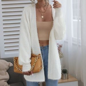 SHEIN Fuzzy Long Cardigan Sweater XS